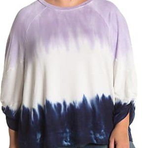 NWT Tie Dye Ruched Sleeve Pullover